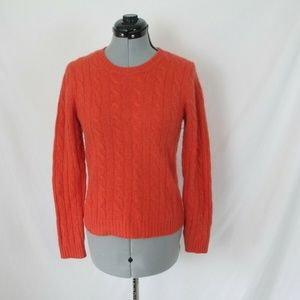 Evelyn Grace Cashmere Sweater Orange Cable Knit Me